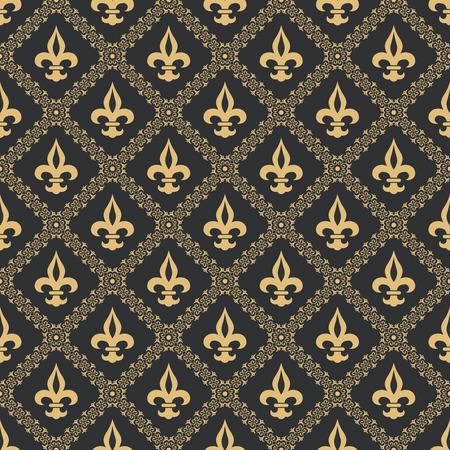 Seamless pattern fleur de lis.Gold texture on a black background.Flower classical pattern.Medieval ornament.Vector illustration. Vectores