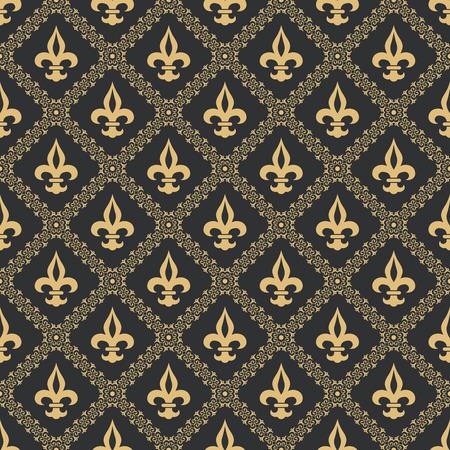 Seamless pattern fleur de lis.Gold texture on a black background.Flower classical pattern.Medieval ornament.Vector illustration. Illustration