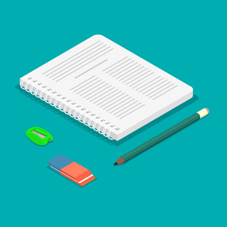 Notebook, pencil, eraser, sharpener in an isometric illustration.3D design.Office objects in a three-dimensional projection.Vector illustration.Design elements in flat style.