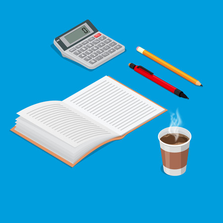 Set of isometric office objects.Notebook, pen, pencil, calculator, glass of coffee.3D style.Concept of office working day.Elements for design.Vector illustration in flat style.