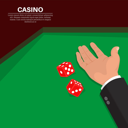 hand holding playing card: The hand throws dice on a table.3D style.Game in casino.Vector illustration in flat style.