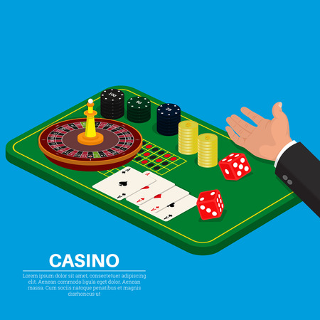 Objects of casino on a green table in an isometry.The hand throwing dice.Elements for design.3D style.Vector illustration. Flat design.