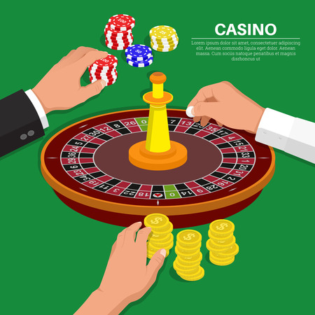 Hands of people with objects from casino.Roulette game.Design elements in an isometry.3D style.Vector illustration. Flat design. Фото со стока - 81239513