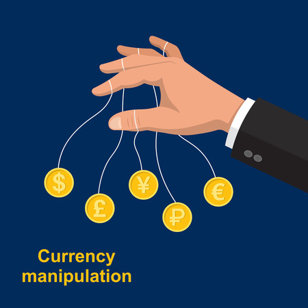The hand manipulating bank notes.The puppeteer in the stock market.Currency transactions at the exchange.Vector illustration in flat style. Illustration