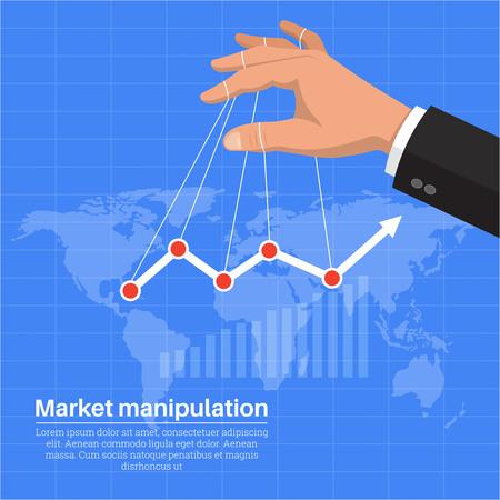 La mano dell'uomo d'affari a sostegno della crescita economica. Manipolazione nel mercato azionario. Il reddito crescente. Una illustrazione vettoriale in stile piatto. Vettoriali