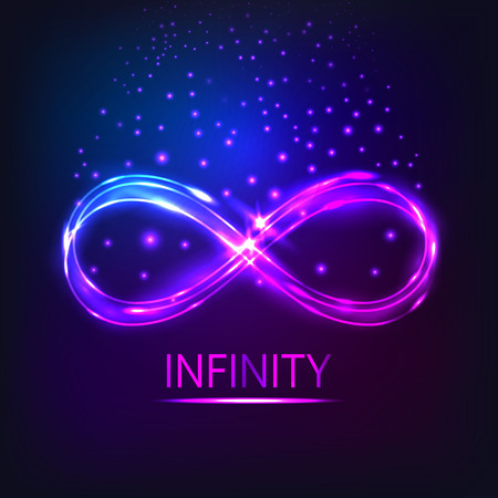 The shining infinity symbol.The neon shining object. Abstract background of an infinity sign. Dynamic scintillating lines. Design element. Vector illustration.