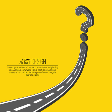 obstruction: The road resting against a question mark.Way with an obstacle.Concept of a dilemma, obstacle, difficulty.Isometric illustration.Vector illustration in 3D style. Illustration