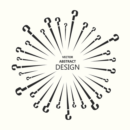 scattering: Vector illustration with the scattering question marks.Template with the place for the text.Design in monochrome style. Illustration