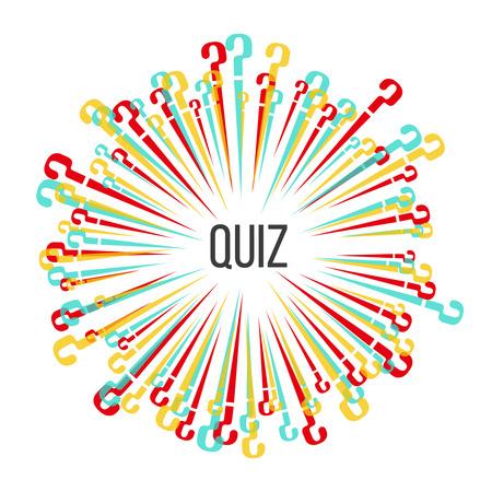 Les points d'interrogation de diffusion multicolores. Modèle pour un quiz. Illustration vectorielle dans le style plat.