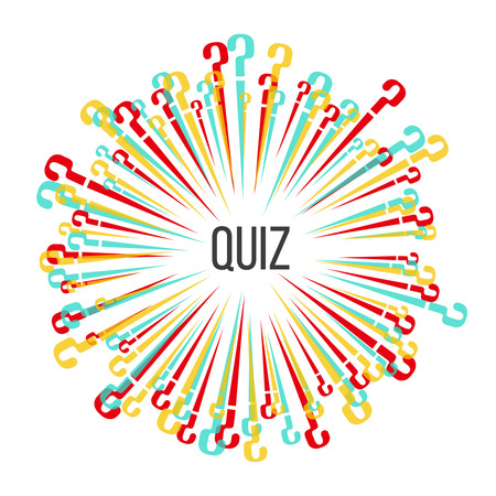 The multi-colored scattering question marks.Template for a quiz.Vector illustration in flat style.