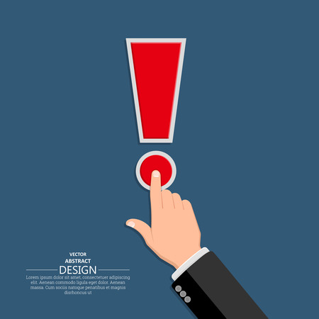 readiness: The hand in a suit clicks on exclamation point.Concept of a call, danger, alarm.Vector illustration in flat style.