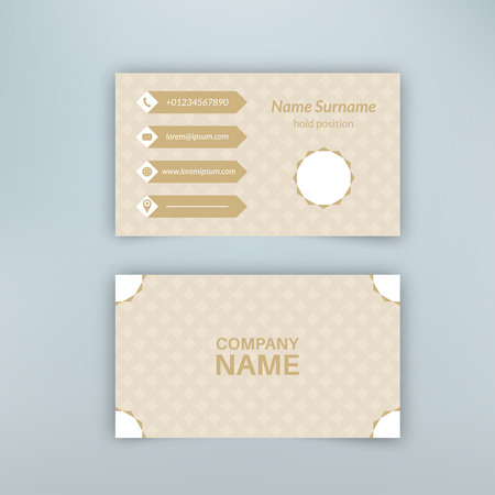 advertising material: Business card blank template with textured background from rhombuses and polygonal banner. Illustration