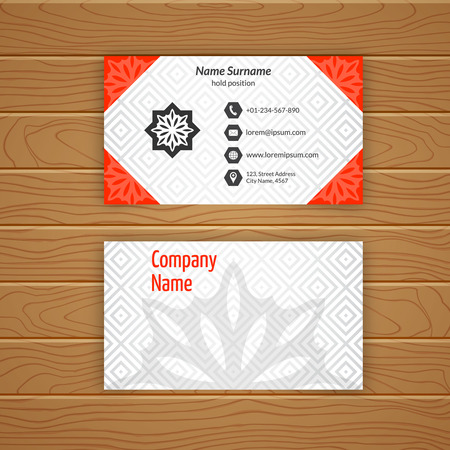 advertising material: Business card blank template with textured background from diamond tiles.