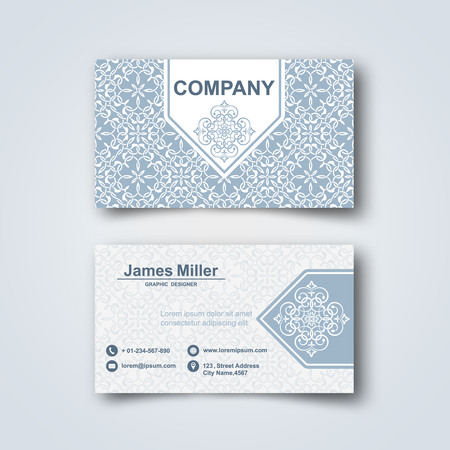 Blank business card template with flower pattern and realistic 82623720 blank business card on a gray background with arab pattern and a realistic shadow vector illustration reheart Gallery