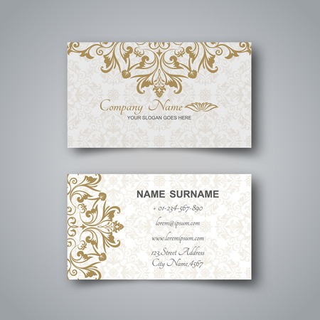 Blank business card template with flower pattern and realistic 82623730 blank business card on a gray background with the arab ornament and a realistic shadow vector illustration reheart Gallery