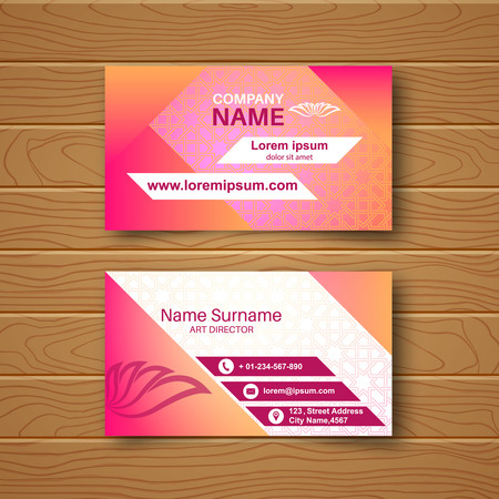 advertising material: Blank business card on a wooden table with a multi-colored ornament and a realistic shadow vector illustration.