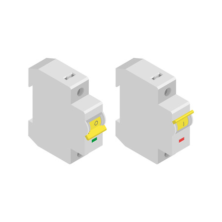 Switches of an electric chain in an isometry.Automatic switches of current on a white background.3D objects.The switched on and off situation.Vector illustration.