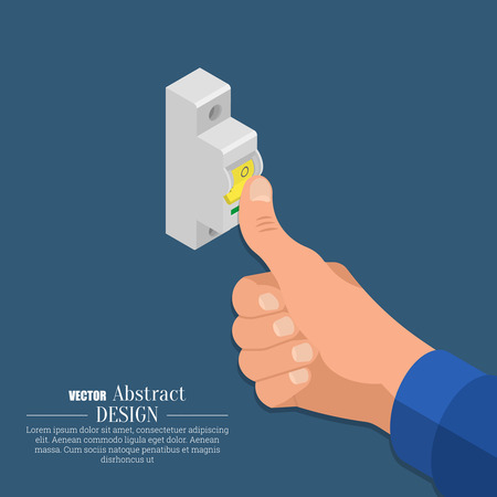 tripping: The hand of the electrician switches off the automatic switch of an electrical circuit.Isometry. 3D style.Vector illustration. Flat design. Illustration