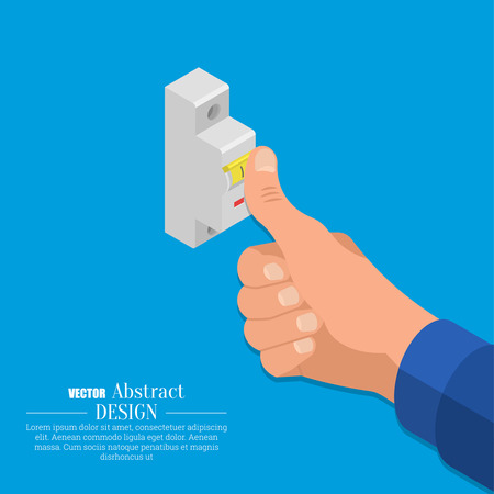 The hand of the electrician turns on the automatic switch of an electric chain. Isometry. 3D style. Vector illustration. Flat design. Illustration