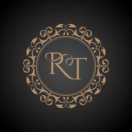 The monogram of the intertwining letters RT in an elegant frame. A golden template for cafe, bars, boutiques, invitations. A logo for business. Vintage elements of design. Vector illustration.