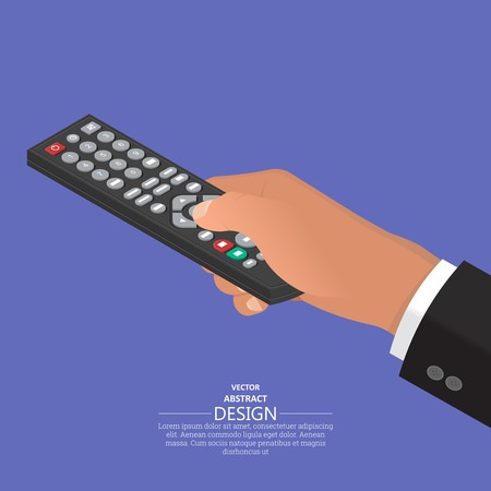 The hand keeps the remote control in a suit.The hand operates the electronic device.Isometry.3D style. Flat design. Vector illustration. Ilustração