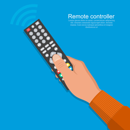 The hand of the man operates the remote control.Flat design on the isolated background.Vector illustration. Ilustração