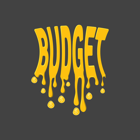 The stylized compressed text the Budget.The word Budget with smudges and coins in the form of drops.Concept of planning of economy, regulation of income and expenses.Vector illustration.