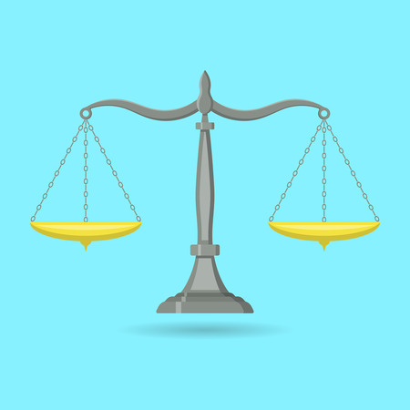 Badge scales.Icon balance.Symbol of justice, law. A vector illustration in flat style with a shadow. Illustration