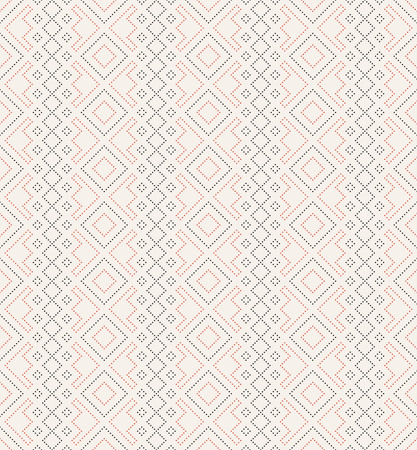 Vector seamless pattern. Trendy modern geometrical texture with regularly repetition small dots, dotted rhombuses, diamonds. Contemporary design.
