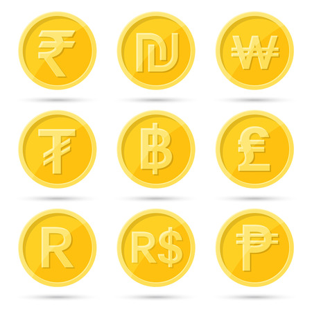 A set of icons of coins to a stenye on the isolated white background.Signs rupee, baht, lira, shekel, dollar, tugrik, peso, rand,won.Symbols of currencies of the countries of the world.Flat design. Vector illustration.