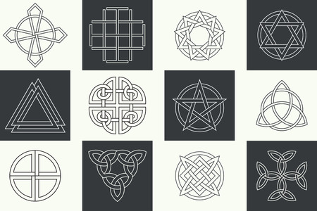Set of ancient symbols executed in linear Celtic style. Secret signs, knots, interlacings. Concept of secret origin of mankind. Mascots, charms executed in the form of logos. Magic signs. Vector illustration.