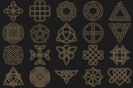 Character set, executed in linear style.Celtic signs, knots and interlacings. Concept of secret and origin of mankind. The mascots and charms executed in the form of logos. Magic signs. Vector illustration.