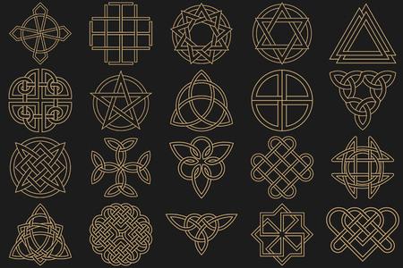 Tekenset, uitgevoerd in lineaire stijl. Keltische tekens, knopen en interlacings. Concept van het geheim en de oorsprong van de mensheid. De mascottes en charmes uitgevoerd in de vorm van logo's. Magische tekens. Vector illustratie.