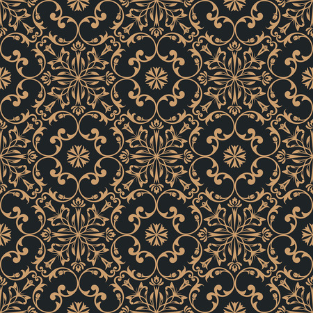 Vector seamless pattern. Luxury baroque texture. Regularly repeating retro ornament. Pattern can be used as a background, wallpaper, wrapper, page fill, element of ornate decoration Ilustração