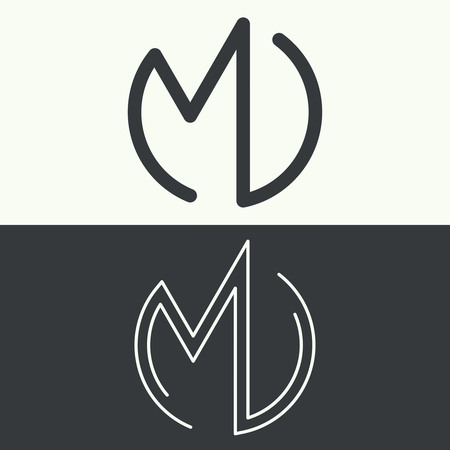 Set of monograms of letters MD. Logo. Simple linear style. Vector illustration.
