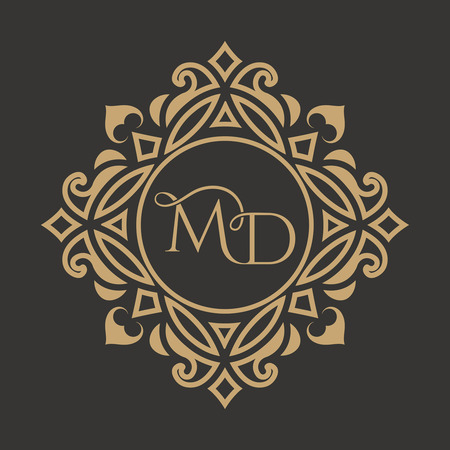 The monogram from the intertwining letters MD in an elegant gold frame. The place for the text. A template for cafe, bars, boutiques, invitations, sights. A logo for business. Vintage elements of design. Vector illustrations. Illustration