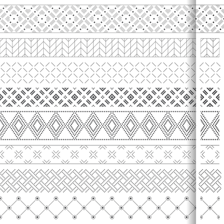 Set of vector geometrical dividers. Borders for the text, invitation cards, various printing editions. Dividing lines in the form of a seamless horizontal or vertical seamless pattern. Illustration