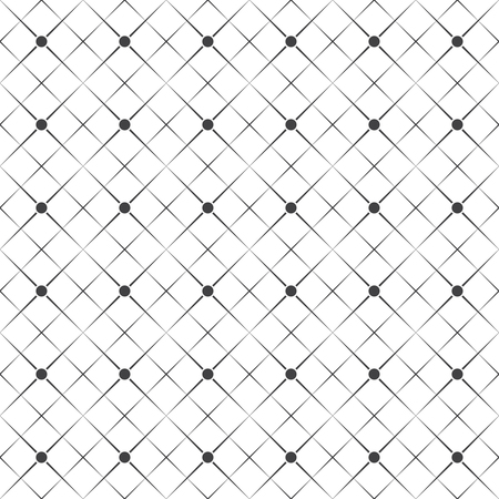 Vector seamless pattern. Abstract geometric background. Simple elegant texture with thin lines. Regularly repeating geometrical linear grid with rhombuses, dots. Contemporary design.