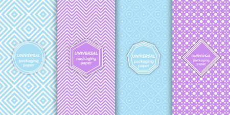 Set of colourful seamless patterns. Classical textured backgrounds with logo, emblem templates. Vector digital paper for packing. Universal wrapping textures. Samples in swatch panel