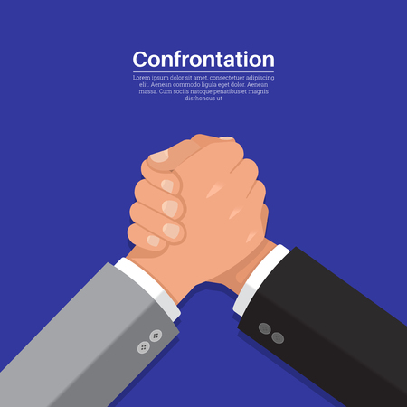 Hands of businessmen in fight. The concept of confrontation, competition in business. Opposition. Right for leadership. A vector illustration in flat style.
