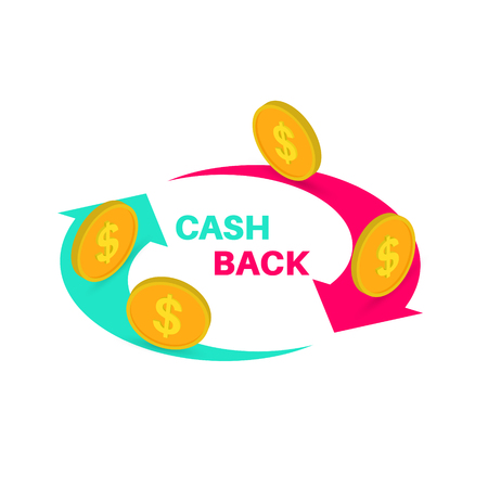 Sign cash back, banner, bonus upon purchase, incentive action. Isometric 3d flat style vector illustration.