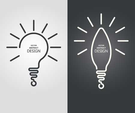 Set the stylized lamp, a question mark, the exclamation mark. Continuous line icon concept of the idea, innovation, necessary decision vector illustration.