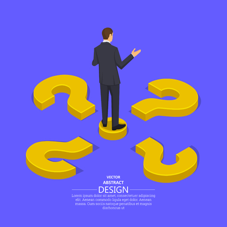 Businessman at the crossroads question marks.Concept of the choice of the correct decision.Difficulty, obstacle, solution at the businessman.Isometric illustration style.  イラスト・ベクター素材