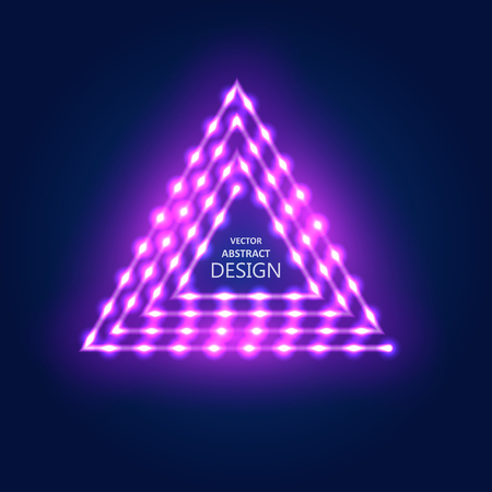 Neon violet sign with LED illumination in retro style. The shining billboard with the place for the text. The vectorial burning template in ancient style.The triangular sign with lamps.
