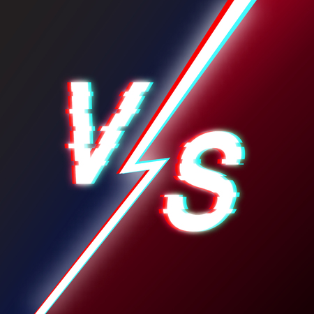 Letters V and S Glitch style. Opposition in fight, a game, business. Competition. Concept of rivalry. The beaten distorted text. Vector illustration.