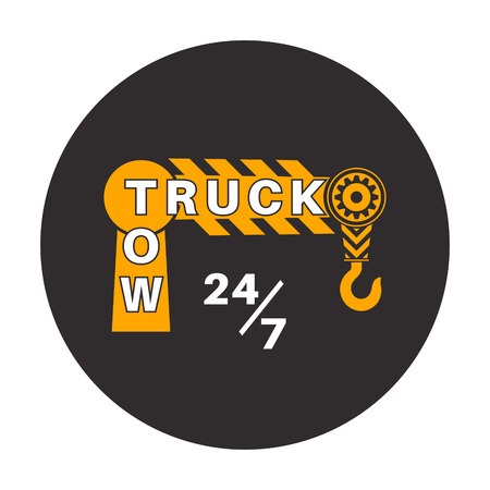 Tow truck icon. Wrecker logotip. Towing hook. Round the clock evacuation of cars. Design can be used as a logo, a poster, advertising, singboard. Vector element of graphic design Vettoriali