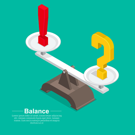 Question mark and exclamatory on a bowl of scales.Concept of balance of mind and emotions.Solution and restraint of acts.Vector illustration in flat style.Isometry.3D. Illustration