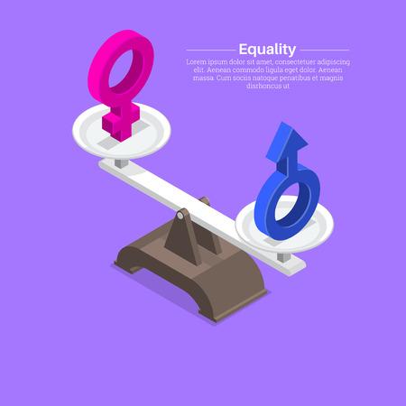 Signos de género en escalas. Equilibrio, igualdad entre hombres y mujeres. Isometría.3D. Una ilustración vectorial en estilo plano. Ilustración de vector