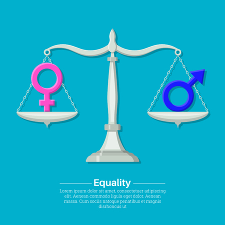 Gender signs on scales. Balance, equality between men's and a female. Concept of justice. A vector illustration in flat style.