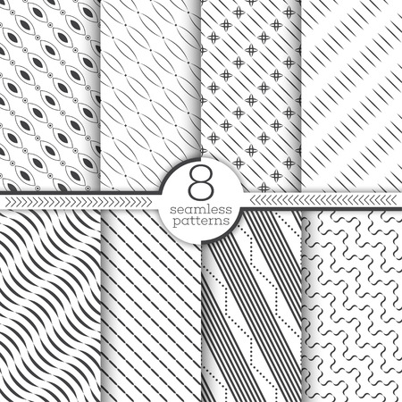 Set of vector seamless patterns on Modern stylish geometric diagonal textures.